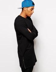 New-Arrival-Fitness-Long-Sleeve-T-shirt-Side-Zipper-T-Shirt-Longline-Tshirt-Mens-T-Shirts