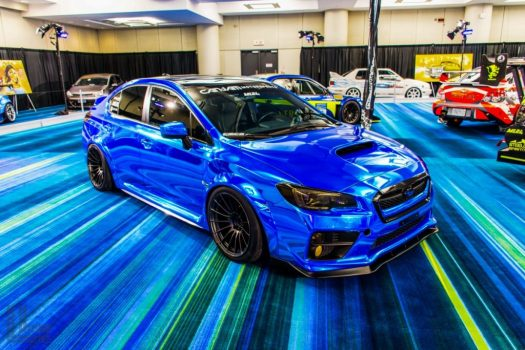 Toronto Auto Show CIAS 2018 PASMAG Tuner Battlegrounds - Subaru WRX with widebody fender flares.