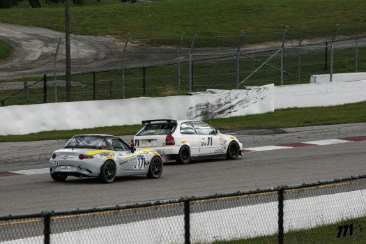 Honda Civic EK vs. Mazda Miata MX-5 GT4 battle - 2018 Celebration of Motorsport, final round of the CASC Pirelli GT Sprints championship.