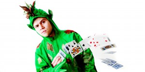 Inside Magic Image of Piff the Magic Dragon doing a One-Handed Card Spring