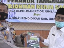 Polres Bersama Dikbud KSB Teken MOU, Cegah Lakalantas Dikalangan Pelajar