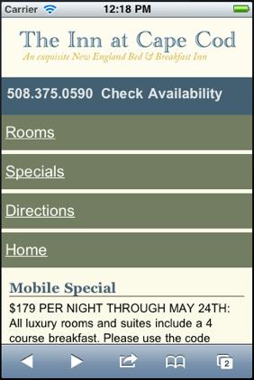 Inn at Cape Cod Mobile Websites