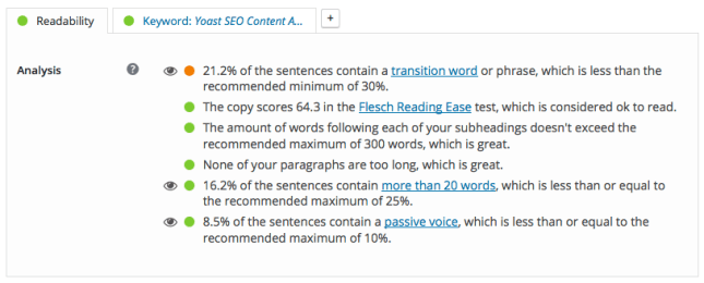 blog post Yoast SEO widget - Readability result 2