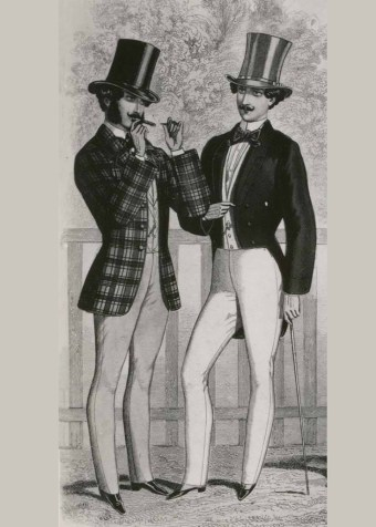 This detail from a fashion plate that appeared in Le Progrès, July 1852, shows how this style of tailcoat would have been worn. While tailcoats would later become the most formal style of men's coat, at the 1850s it was not as exclusive in its usage. As this plate shows, it did not have to be worn as part of a coordinated suit, but could be paired with contrasting pants.