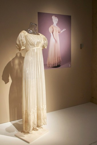 Sheer cotton gauze dress, ca. 1815-20
