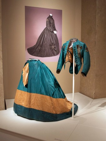 Dress of green taffeta, ca. 1864