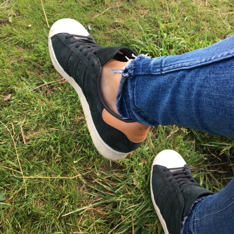Adidas Superstars black with contrast heel