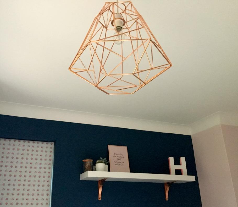 copper lampshade in bedroom