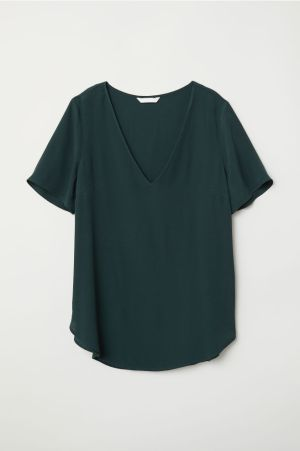 Short-sleeved viscose blouse