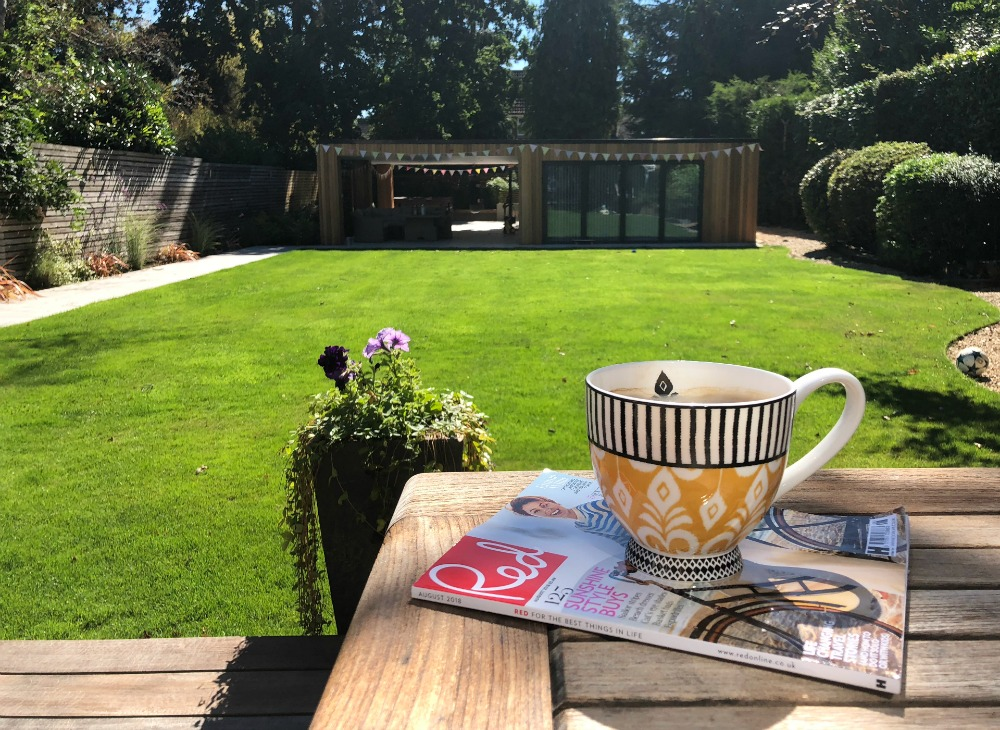 red magazine in garden