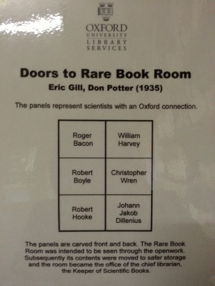 Radcliffe Science Library: The scientists featured on the door