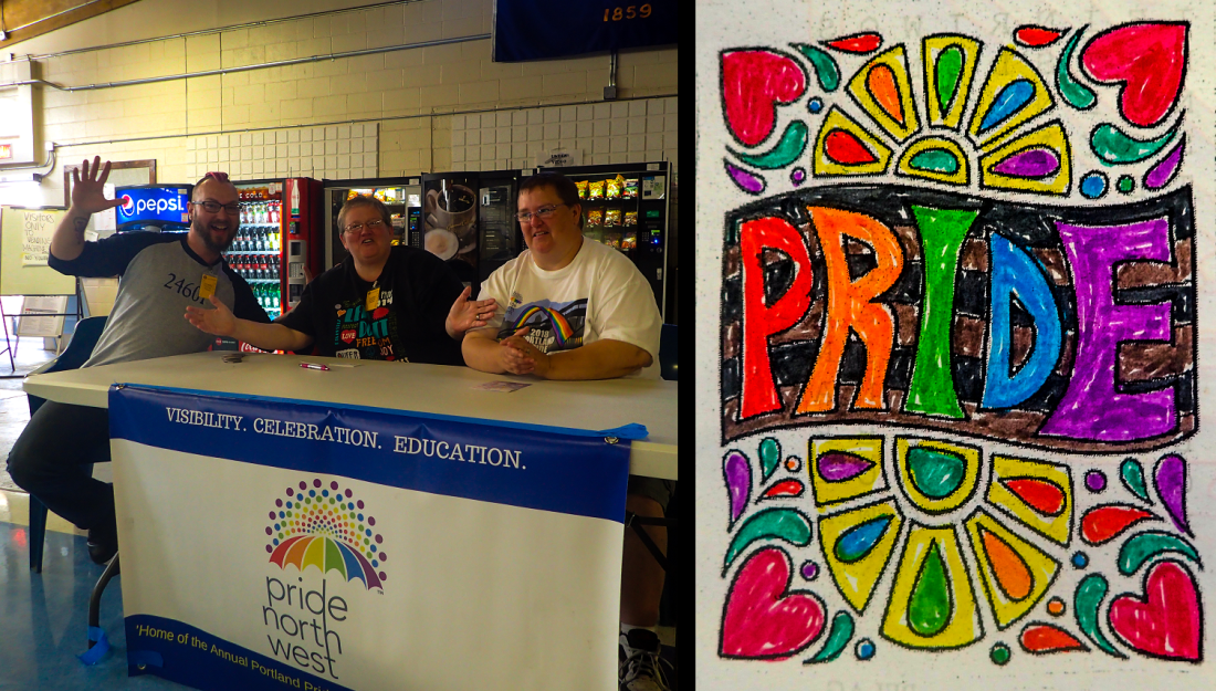 """Staff at Pride 2018 event and illustration of the word """"Pride""""."""