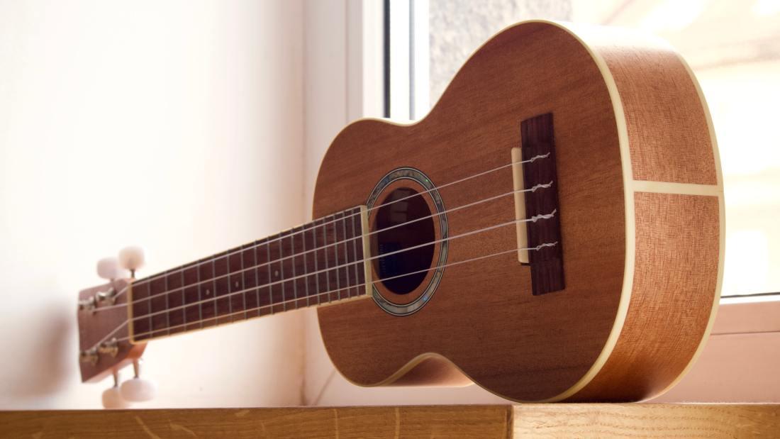 ukulele sitting on shelf