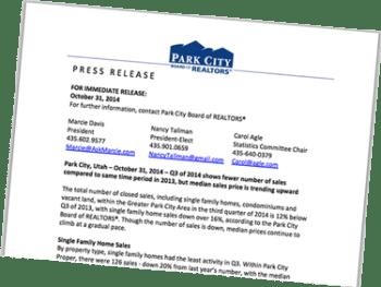 Park City Board of Realtors Press Release