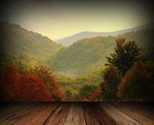 View of the fall colors in the Smoky Mountains from the deck of a cabin