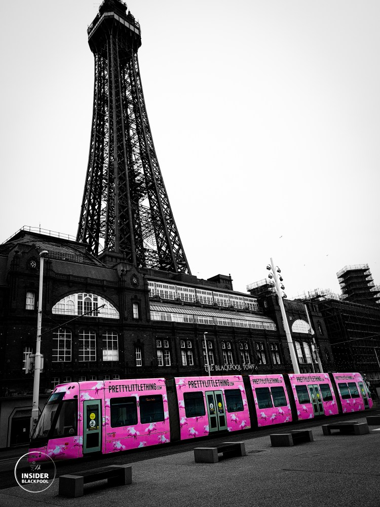 Blackpool pink tram and tower