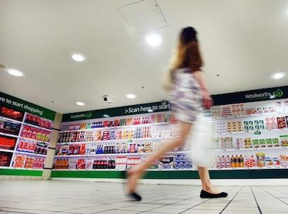 Woolworths, shopper, supermarket, mobile