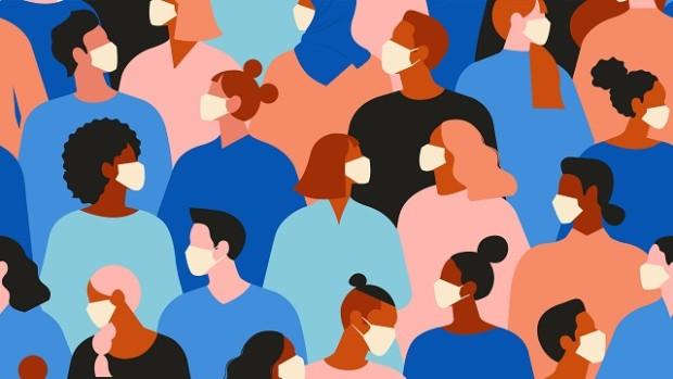 Illustration of people wearing face masks.