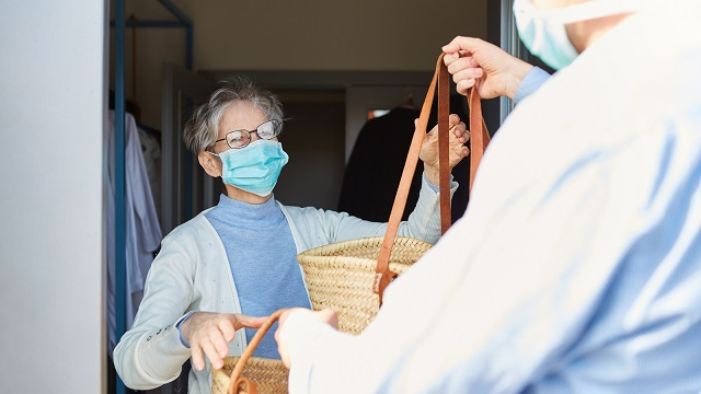 Grocery delivery service for elderly in quarantine at Covid-19 Coronavirus epidemic