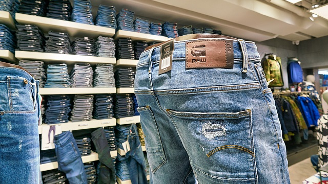 Image of G-Star Raw jeans in a store