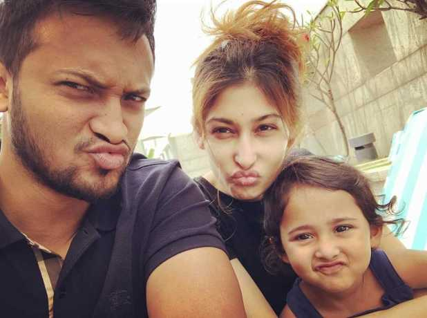 Model Umme Ahmed Shishir with husband Sakib Al Hasan and daughter Alayna Hasan Aubrey