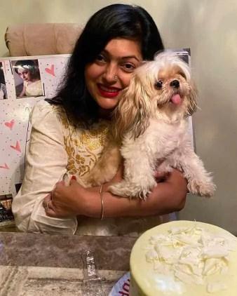 Nipun Akter with her Dog