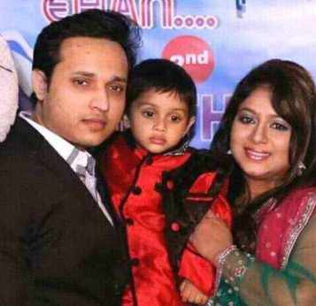 Shabnur with her husband and son