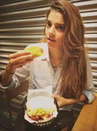 Sanam Saeed with foods