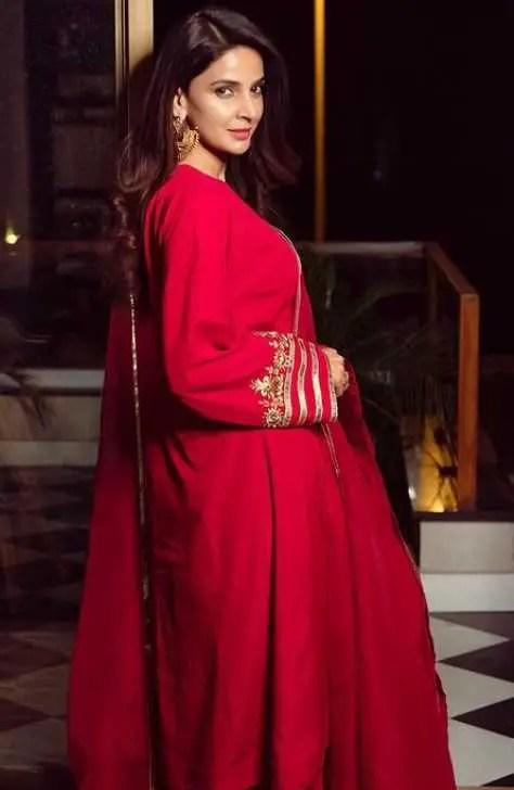 Saba Qamar Red Color Dress Image