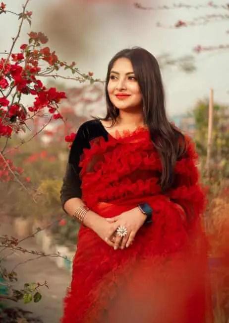Nusrat Jahan Ontora HD Saree Photo