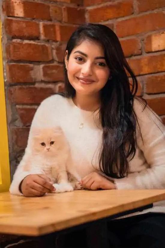 Nusrat Jahan Ontora with her Cat