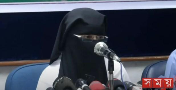 Abu Toha Muhammad Adnan wifeSabikun Nahar talking on Bangladeshi news media