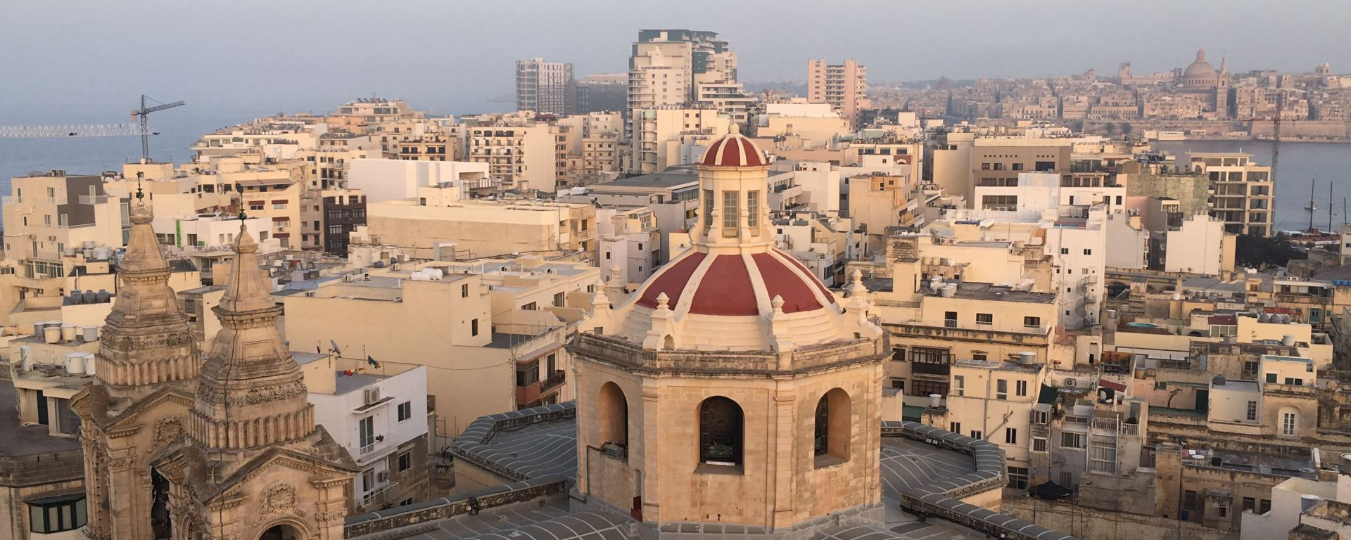 Image of the Keepers trip to Malta looking over Church and rest of town