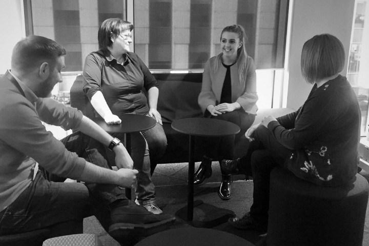 Emma in team meeting
