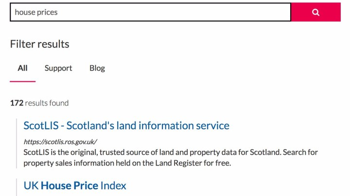 Screenshot of search for house prices on beta site