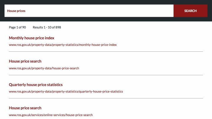 Screenshot of search for house prices on current site