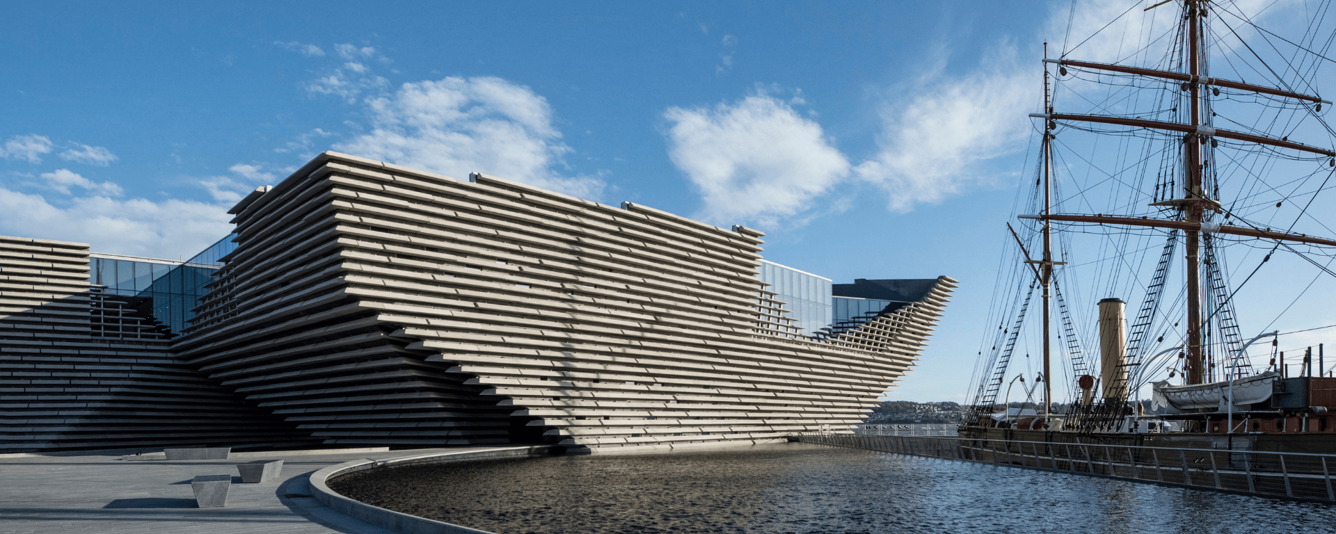 V&A museum Dundee with the Discovery to the right of the image