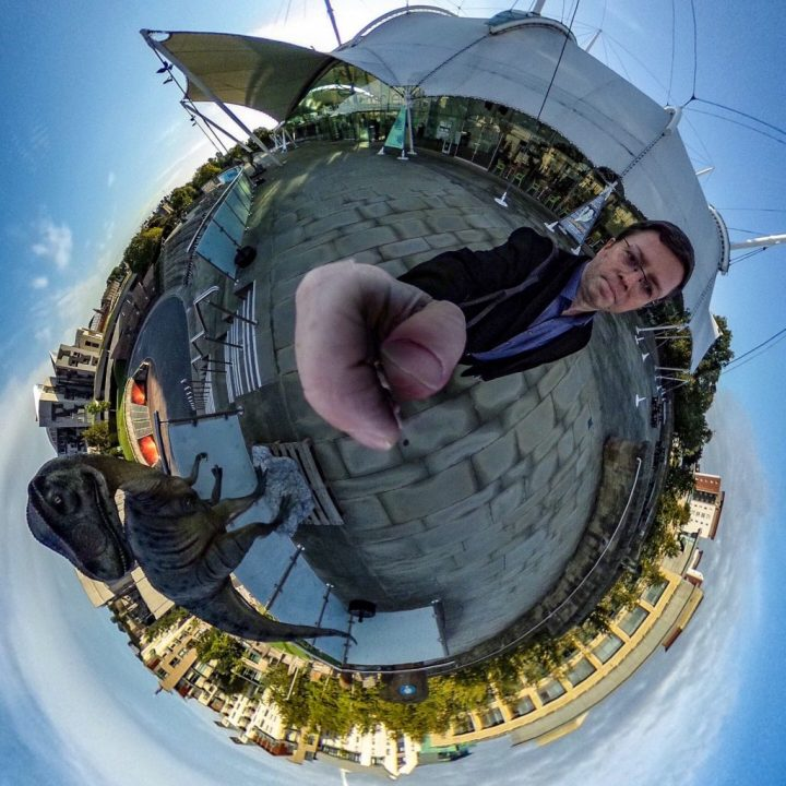 Alan Howie, our data architect, tests out his new fisheye camera at Dynamic Earth