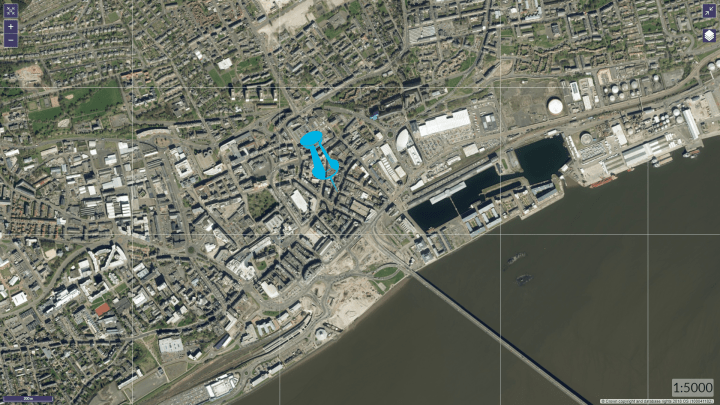 The blue dot shows the junction of Gellalty Street and Seagate, as seen on ScotLIS