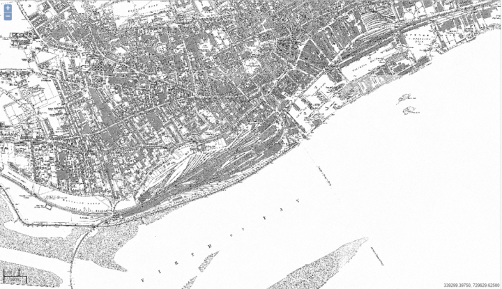1887 Dundee Ordnance Survey map showing the new Tay bridge operational