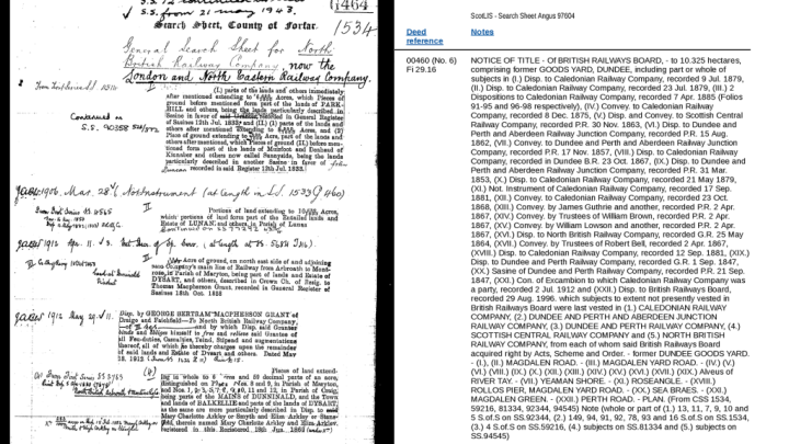 The historic search sheet for the North British Railway Company, and the sasine record for the Greenmarket area shown on ScotLIS