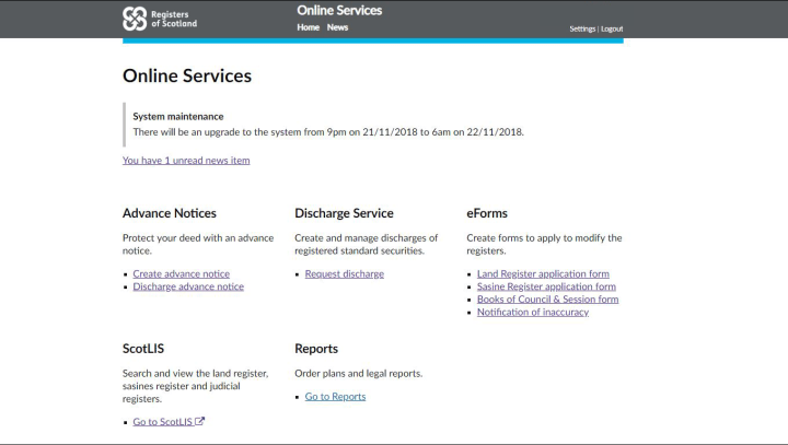 screen grab of our Online Services page on our portal