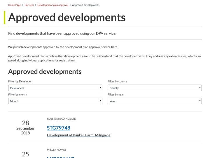 Screenshot of old DPA listing