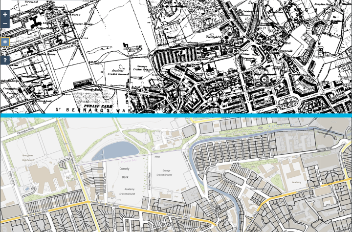 Raeburn Place in Stockbridge. hald taken from 1878 and the second taken from ScotLIS