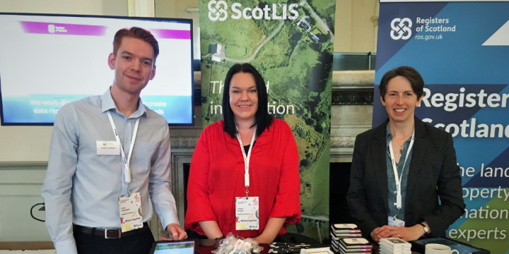 Three RoS members of staff at our stand at DataFest 2019