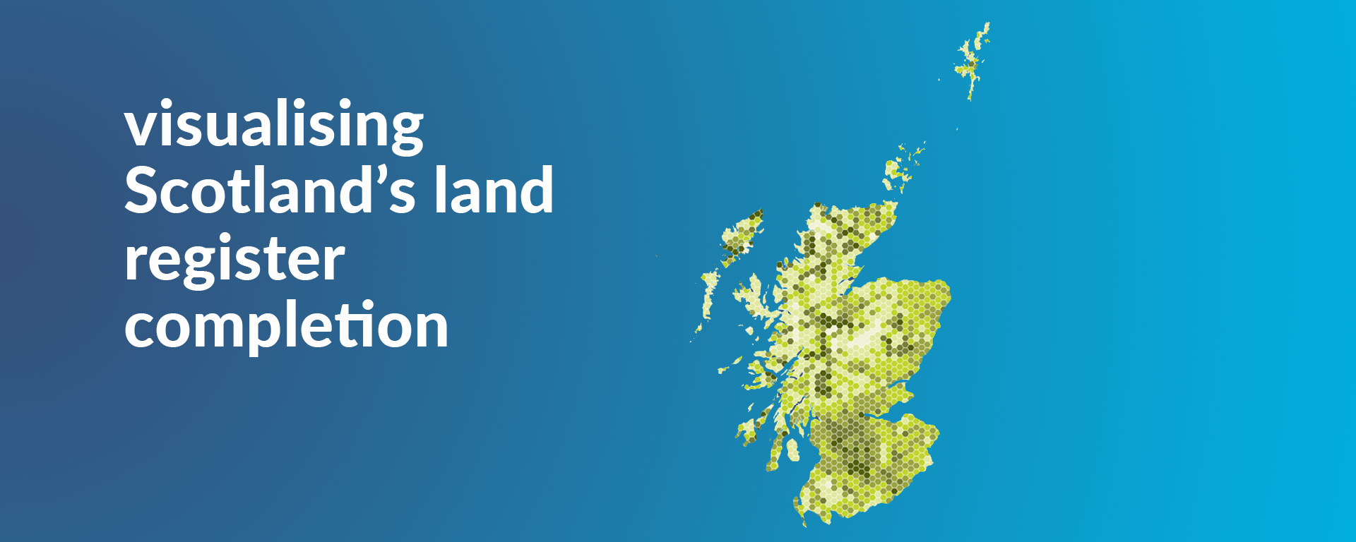 A graphic visualisation of the land register completion in Scotland with explanatory text to the left