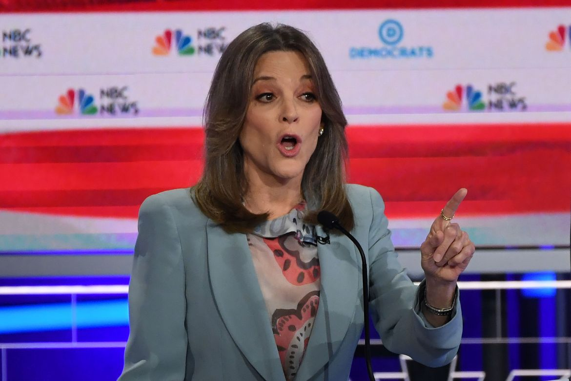 Democratic presidential hopeful US author Marianne Williamson speaks during the second Democratic primary debate of the 2020 presidential campaign season hosted by NBC News at the Adrienne Arsht Center for the Performing Arts in Miami, Florida, June…
