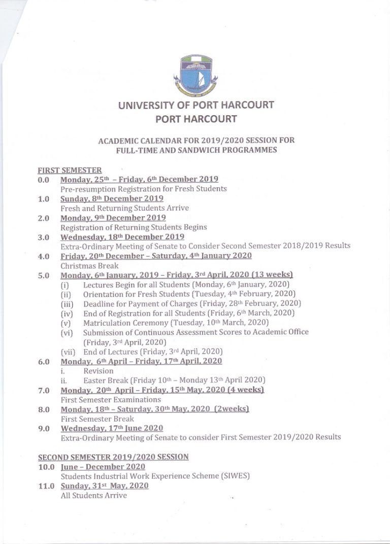 Uniport academic calendar - University of Port-Harcourt (UNIPORT) Academic Calendar for 2019/2020 Session is Out [Full-Time]