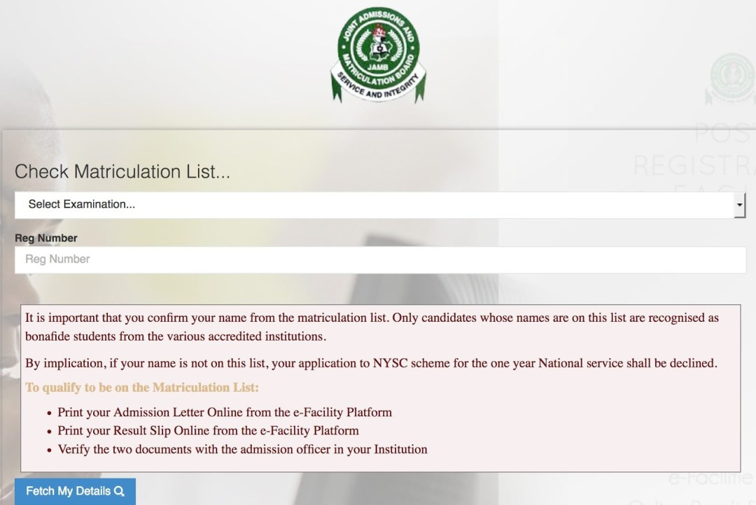jamb matriculation list - JAMB Matriculation List Portal For NYSC Mobilization