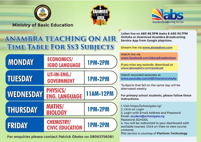 Anambra State Teaching on Air Timetable - Anambra State Teaching on Air Timetable For JSS & SS3